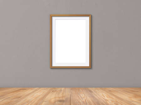 Blank frames mockup on wall with wooden floor