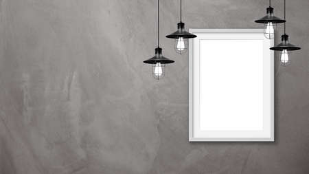 Blank frames mockup on wall with lamps