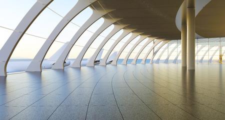 case moderne: 3d terminal passeggeri dell'aeroporto rendering.Modern. Vuoto interiore corridoio con pavimento in ceramica al soffitto finestre e sfondo scenico