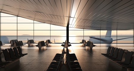 scenic background: 3d rendering. Modern airport passenger terminal. Empty hall interior with ceramic floor to ceiling windows and scenic background. Empty seats in the departure lounge at the airport