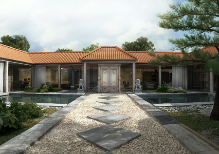 3d rendering. Home Patio and Pool Stock Photo
