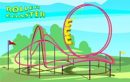 Roller coaster in amusement park illustration