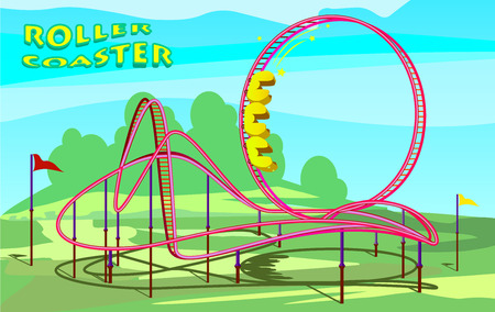 Roller coaster in amusement park illustration