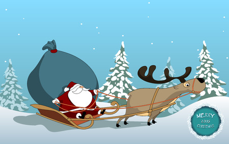 too much: Santa Claus riding a sleigh pulled by reindeer, and carries a sack of too much gifts.