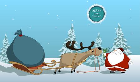 feeds: Christmas vector with santa santa feeds the reindeer.