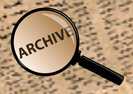 examining: Examining archive through a magnifying glass. Illustration