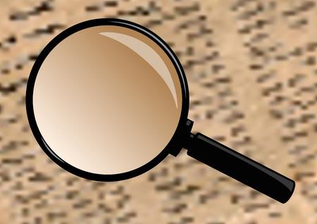examining: Examining magazine through a magnifying glass.