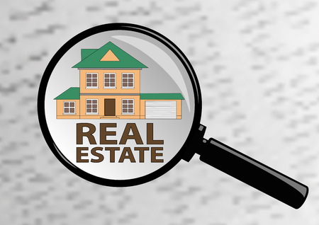 housing search: Examining Real estate in magazine through a magnifying glass. Illustration