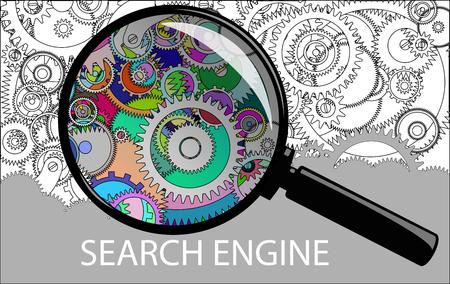 examining: Examining clockwork mechanism through a magnifying glass. cogwheels a clockwork. Macro, extreme closeup. Illustration