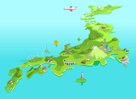 vulcano: Semi-abstract Japan map. Eco islands. Fudzijama