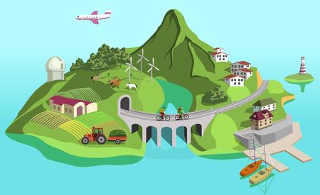 Eco island Иллюстрация