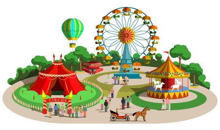 carnival: Conjunto de composición de diseño vectorial con elementos de parque de atracciones
