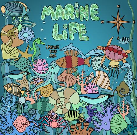 fauna: Doodles marine life. Sea fauna