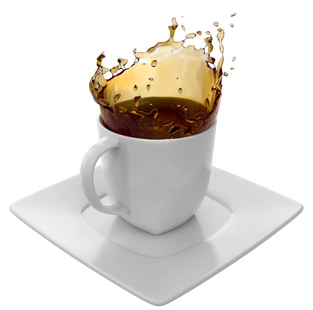 cup of coffee splash isolated on white background Stock Photo