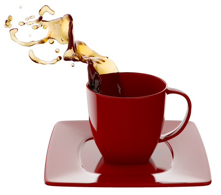 Red Cup of coffee with splashes, isolated on white Stock Photo