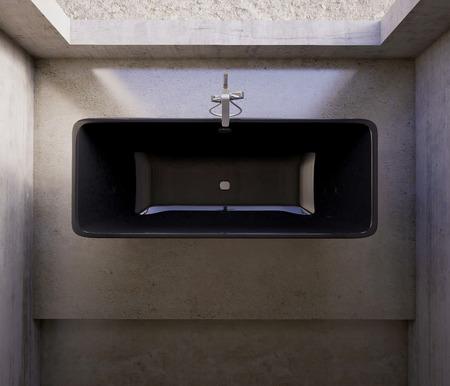 3d rendering. Concrete tub in the bathroom