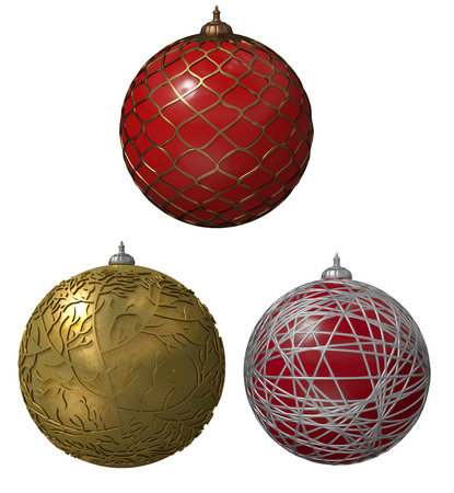 Christmas balls with ribbon Stock Photo
