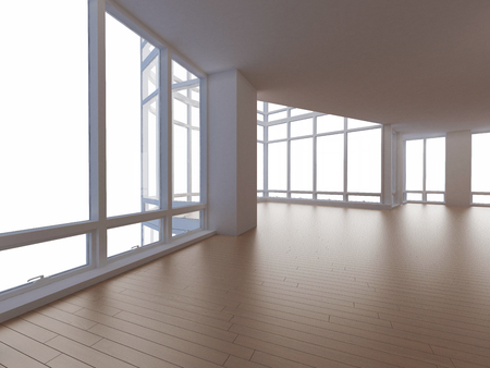 blank interior with yellow parquet