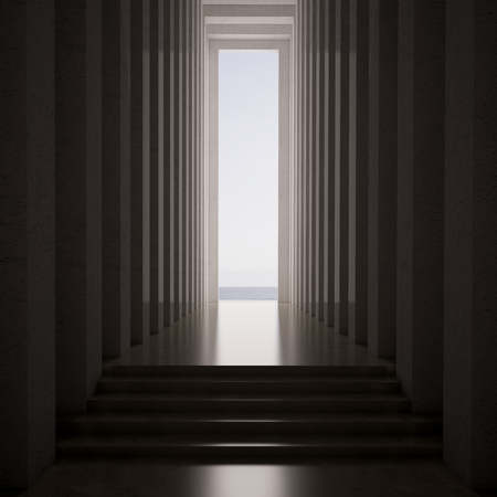 3d rendering. dark blank interior scene concrete wall Фото со стока