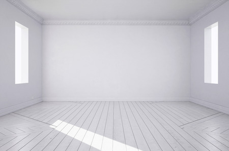 3d rendering. White room. Фото со стока