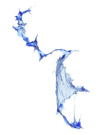 taking the plunge: Blue water Splash. Liquid splash isolated on white