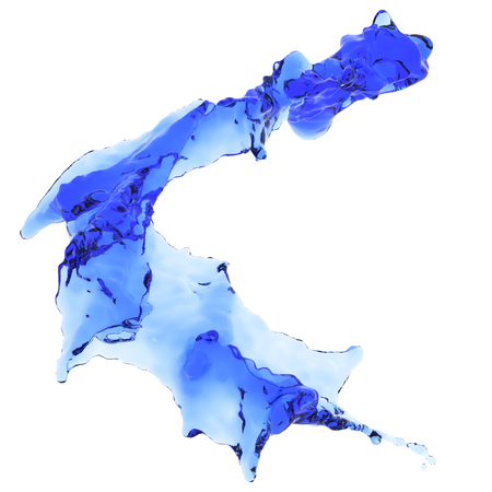 Blue water Splash. Liquid splash isolated on white