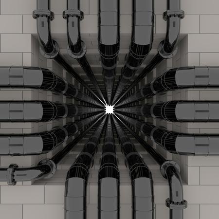 An open shaft.