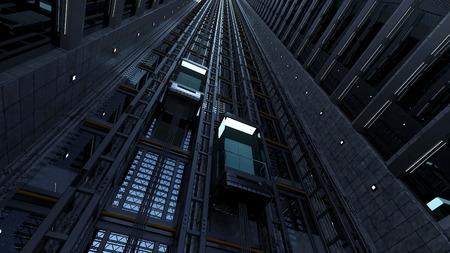 shaft: 3d rendering. An open Elevator shaft