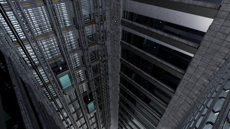 3d rendering. An open Elevator shaft