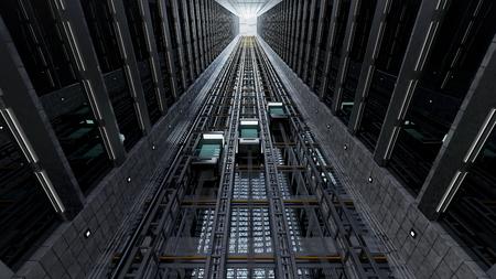 3 d レンダリング。オープンのエレベーター シャフト 写真素材