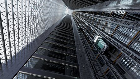 3d rendering. An open Elevator shaft