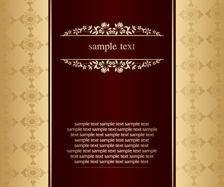 Artistic flower golden background for your text - Vintage design Stock Vector - 9427213
