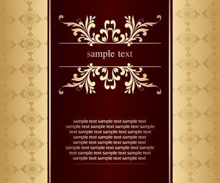 Artistic flower golden background for your text - Vintage design Stock Vector - 9427211