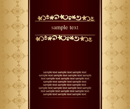 Artistic flower golden background for your text - Vintage design Stock Vector - 9427212