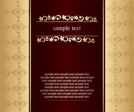Artistic flower golden background for your text - Vintage design Stock Vector - 9427212