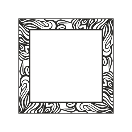 Monochrome vector floral frame