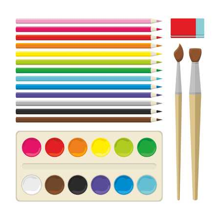Set of color painting tools