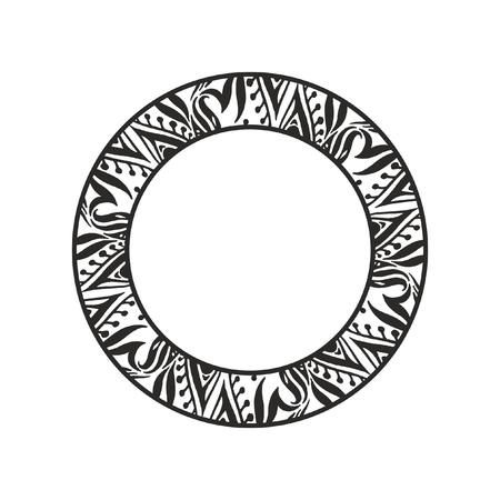Monochrome round floral frame