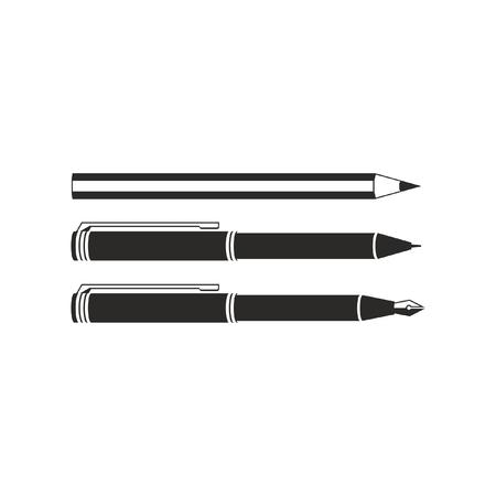 Set of monochrome vector pencil & pens