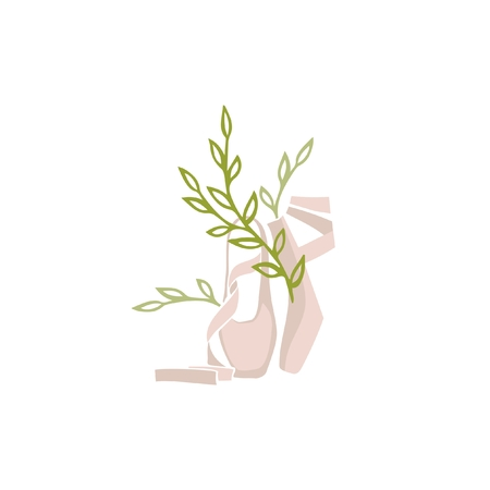 Vector ballet and plant logo Vettoriali