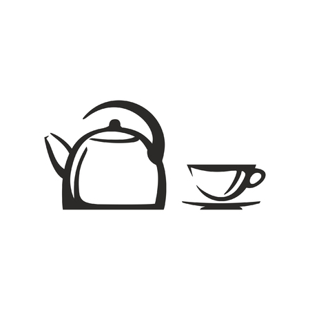 Vector kettle and cup  イラスト・ベクター素材
