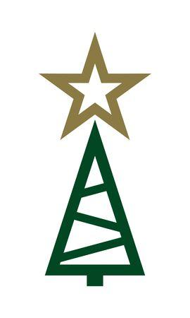 New year tree with golden star Иллюстрация