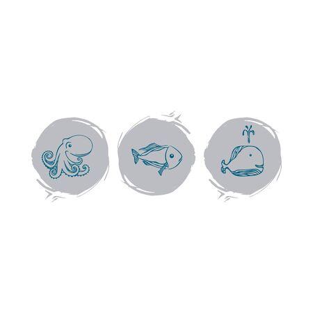 Set of hand drawn fish Standard-Bild - 130262270