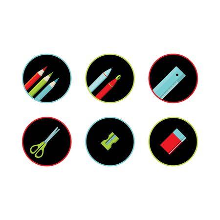 Set of school tool round icon