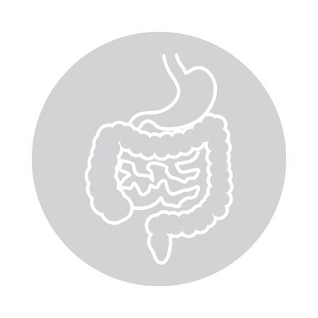 Intestines and ctomach icon in circle