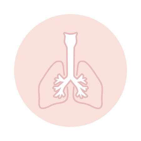 Vector lungs icon in circle Standard-Bild - 130262233