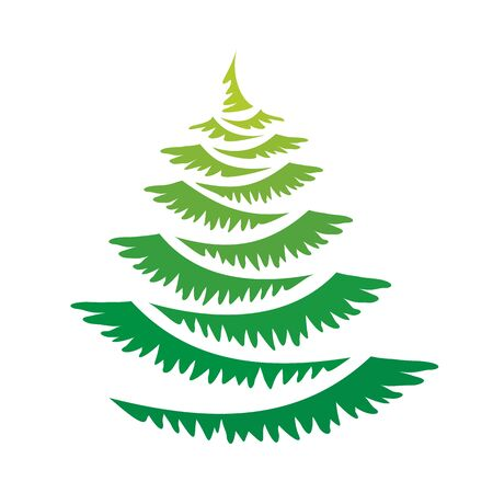 Vector green new year tree Ilustrace