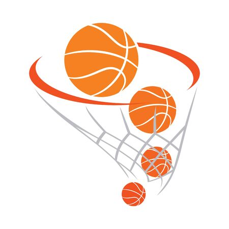 Orange and gray basketball basket with balls Ilustrace