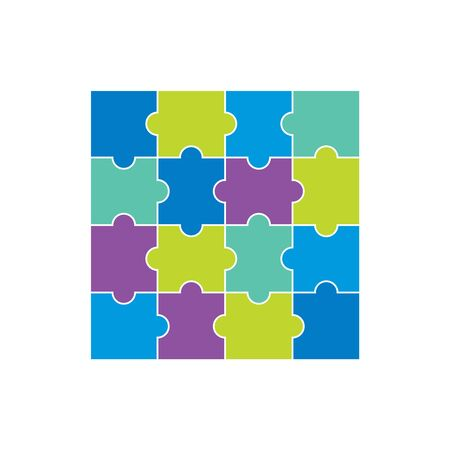 Blue violet and green puzzles 向量圖像