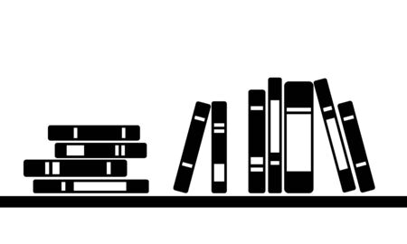 Monochrome books stand on shelf